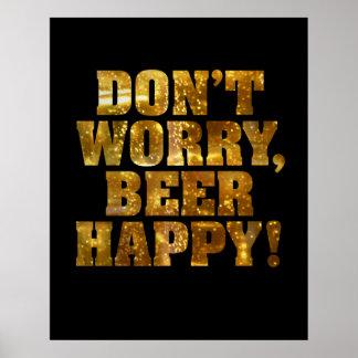 Poster ou impressão feliz da cerveja