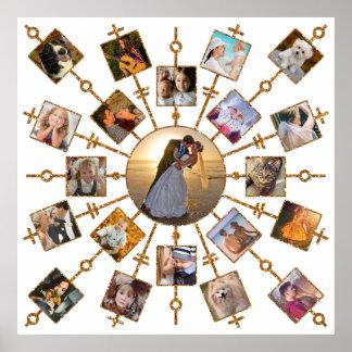 Pôster Ouro branco bonito das imagens da colagem 21 da