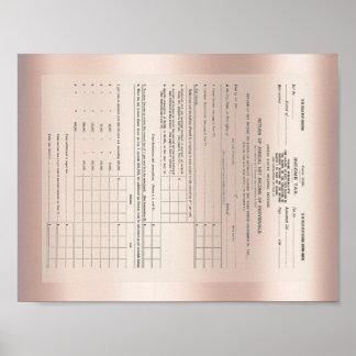 Pôster Ouro cor-de-rosa do formulário de imposto 1040 da
