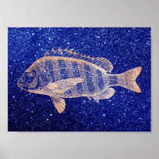 Pôster Ouro do rosa do azul de oceano do mar dos peixes