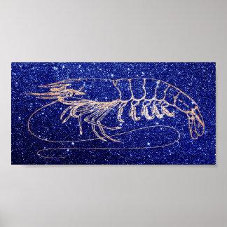 Pôster Ouro do rosa dos azuis marinhos do oceano do mar