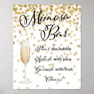 Poster Ouro do sinal do casamento do bar do Mimosa