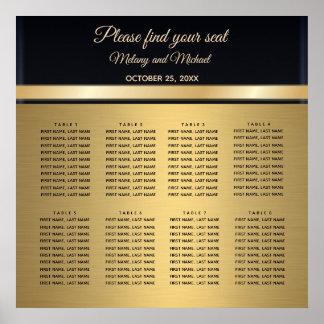 Poster Ouro moderno elegante/carta preta do assento do