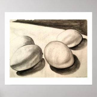 Poster Ovos, uma vida imóvel, no carvão vegetal