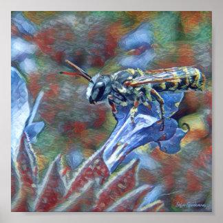 Poster Painterly do Semi-Brilho da abelha 7x7 de