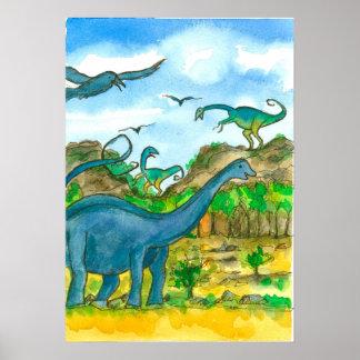 Pôster Paisagem da aguarela dos dinossauros