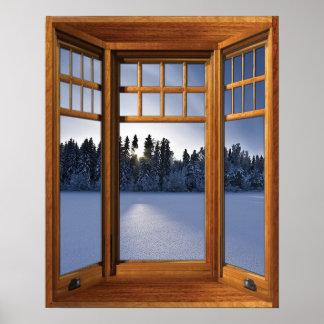 Pôster Paisagem de madeira do inverno da janela de baía -