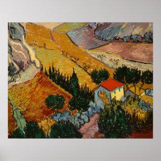 Poster Paisagem de Vincent van Gogh | com casa &