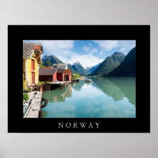 Poster Paisagem do fiorde de Fjaerlandsfjord em Noruega