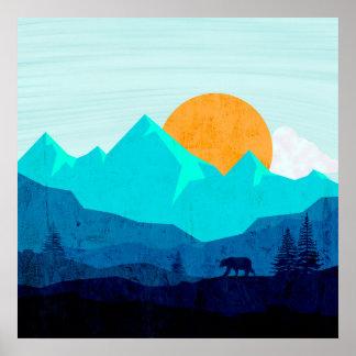 Poster Paisagem selvagem do crepúsculo da montanha