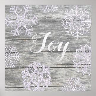 """Pôster Palavras escritas """"Joy"""" em madeira com estrelas de"""