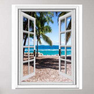 Poster Palmas tropicais na janela do falso da vista para