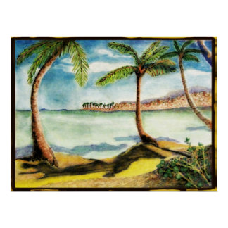 Poster Palmeiras e desenho tropicais da praia