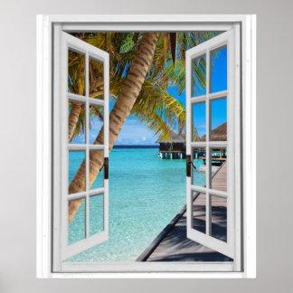 Poster Palmeiras e janela do falso da vista para o mar