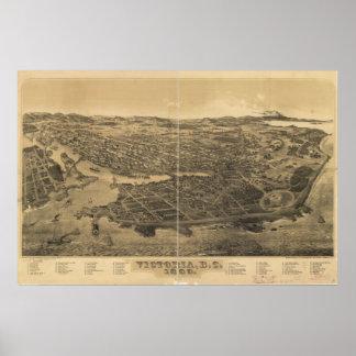 Pôster Panorama antigo do Columbia Britânica 1889 de