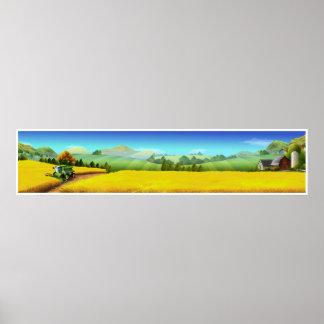 Poster panorâmico da arte da cena da fazenda da