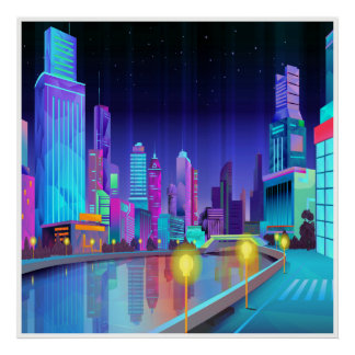 Poster panorâmico da arte da cena da noite da