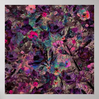 Poster Papel de parede floral roxo e cor-de-rosa escuro