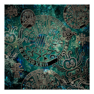 Pôster Papel de poster asteca dos azuis (Semi-Brilho)