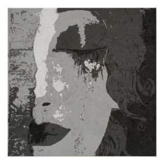 Pôster Papel de poster monocromático da arte de Klimt