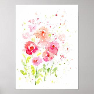 Pôster Papoilas cor-de-rosa da aguarela