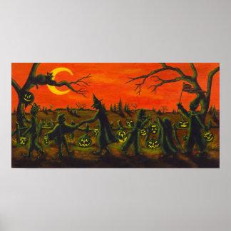 Poster Parada do Dia das Bruxas, bruxa, palhaço, gatos