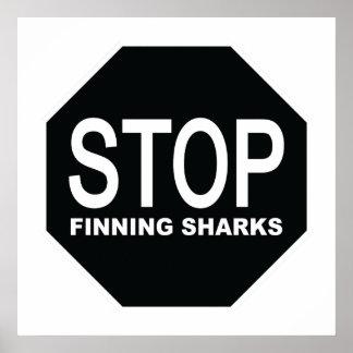 Pôster Pare o sinal dos tubarões de Finning