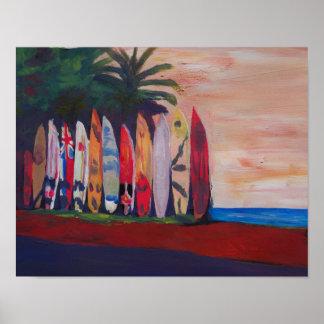 Poster Parede da cerca do conselho de surf da cena da