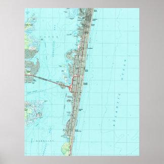 Pôster Parque de beira-mar & costa Mapa de NJ (1989)