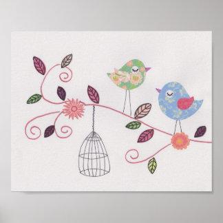 Poster Passarinhos pequenos da arte da colagem do berçári