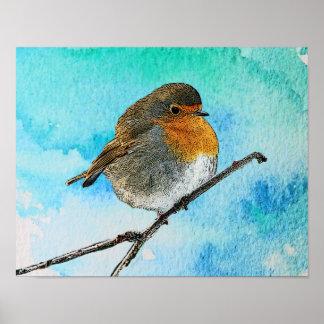 Pôster Pássaro abstrato moderno do pisco de peito