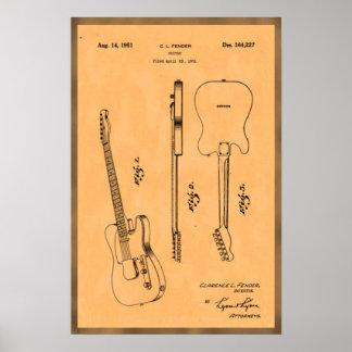 Poster Patente legal da guitarra elétrica
