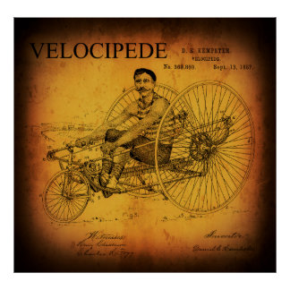 POSTER PATENTE RECUMBENT 1887 DO VELOCIPEDE