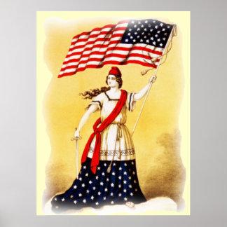 """Poster patriótico"" do vintage sempre vigilante Pôster"