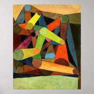 Poster Paul Klee abriu o abstrato da montanha