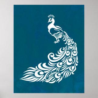 Pôster Pavão branco no design à moda corajoso do art deco
