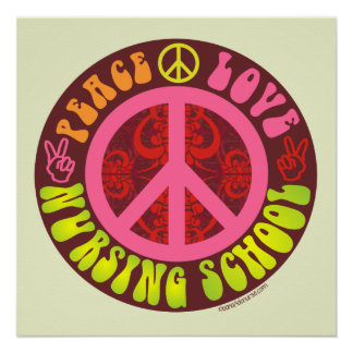Pôster Paz, amor, poster da escola de cuidados