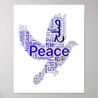 Pôster Paz da arte da palavra da pomba