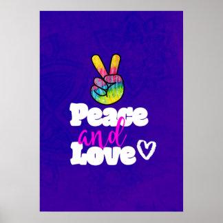 Poster Paz do sinal de paz da mão do arco-íris e