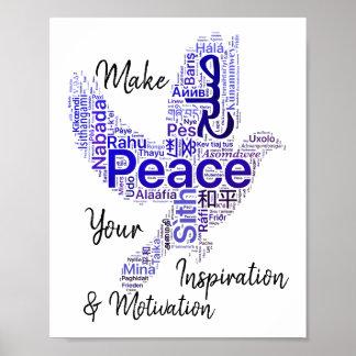 Pôster Paz inspirada das citações da arte da palavra da