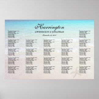 Poster Pela carta do assento da recepção de casamento da
