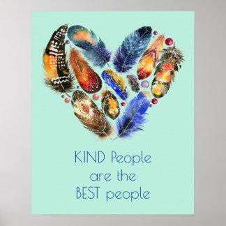 Poster Penas dadas forma da bondade das citações coração