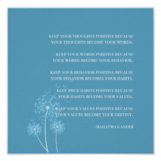 Pôster Pensamento positivo das citações inspiradas de |