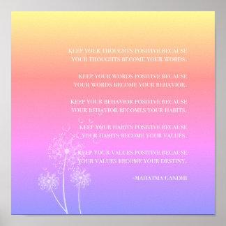 Poster Pensamento positivo inspirado das citações |