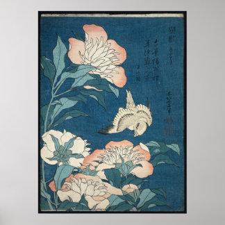 Poster Peônias e canário por Katsushika Hokusai 1834