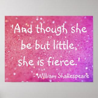 Poster pequeno mas feroz do rosa das citações de