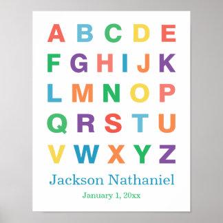 Poster personalizado do alfabeto para bebés pôster