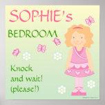 Poster personalizado menina da sala da borboleta
