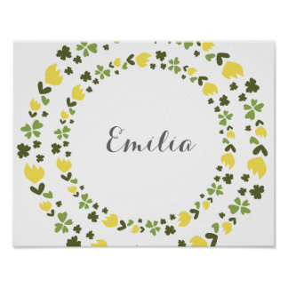 Poster Personalized floral wreath yellow & Cute em green