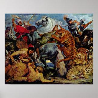 Pôster Peter Paul Rubens - caça do tigre e do leão